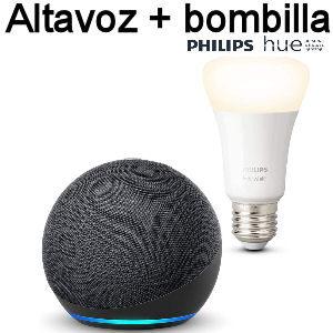 Altavoz Echo Alexa de 4 generación con bombilla inteligente Philips Hue E27 compatible con Alexa