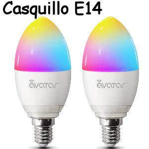 Bombilla LED inteligente wifi E14 de luz calida RGB regulable de 5W. para ahorrar energía compatible con Alexa y Google Home