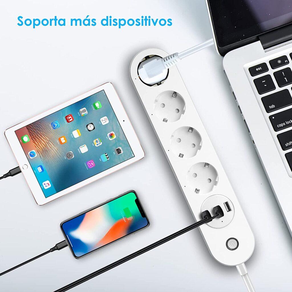 Carga tu movil, tableta o dispositivos con una regleta usb inteligente con wifi compatible con Alexa y Google Home