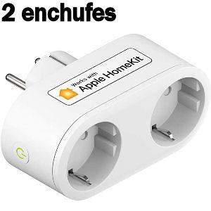 Enchufe inteligente con 2 tomas de corriente con wifi compatibles con Apple Homekit, Google Home y Alexa