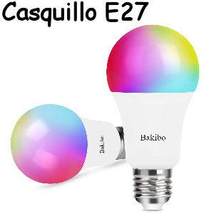 Pack de 2 bombillas inteligentes LED con wifi, potencia 9W y casquillo gordo E27 compatibles con Alexa y Google Home