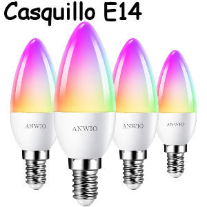 Pack de 4 bombillas inteligentes E14 RGB de 5W. con forma de vela, equivalente a 40W. funciona con Alexa y Google Home