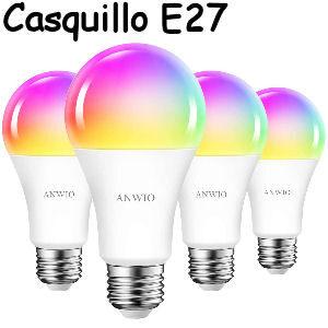 Pack de 4 bombillas inteligentes LED con wifi casquillo E27 RGB de 12W equivalente a 100W compatible con Alexa y Google Home Smart Life