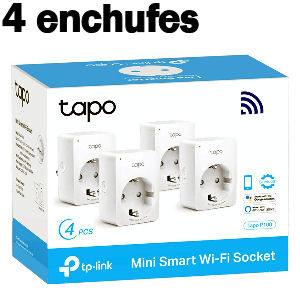 Pack de 4 enchufes inteligente Alexa y Google, set de 4 enchufes TP Link Tapo P100 con Wifi para encender, apagar y programar encendido