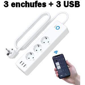 Regleta con 3 enchufes inteligentes wifi y 3 USB compatibles con Alexa y Google Home