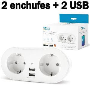 Regleta inteligente con 2 enchufes y 2 puertos USB