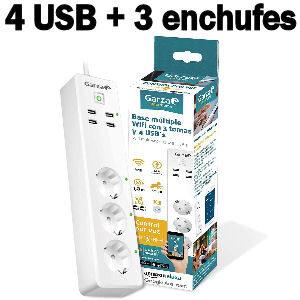 Regleta inteligente con 4 puertos USB de carga y 3 enchufes