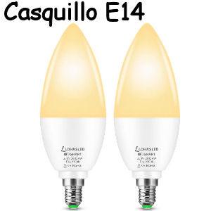 Set de 2 bombillas inteligentes E14 de casquillo fino de 4W. color blanco cálido compatible con Alexa o Google Home